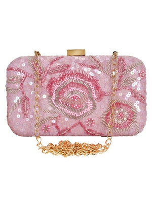 Pink Adorn Sequines Embelished Faux Silk Fabric Clutch