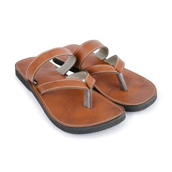 Men'S Brown Synthetic Leather Sandals, Indian Ancient Summer Shoes,  Gift For Him