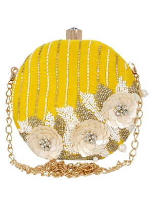 Yellow and White Adorn Embelished Velvet Fabric Clutch