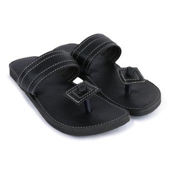 Handmade Black Synthetic Leather Sandals for Men, Festival boho shoes