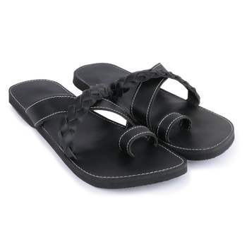 Men'S Black Synthetic Leather Sandals, Handmade Indian Flip Flops