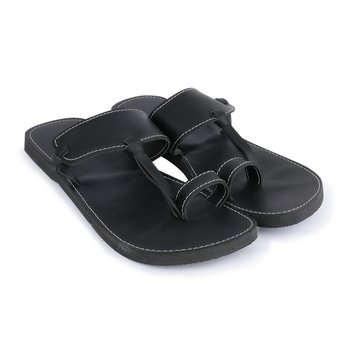 Men's  Black sandals in Synthetic leather, handmade Indian Flip flops with rubber sole