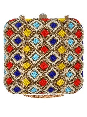 Multicolour Vista Embelished Faux Silk Fabric Clutch