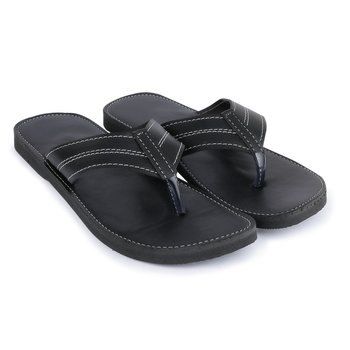 Men'S Black Synthetic Leather Sandals, Casual Thong Flip Flops