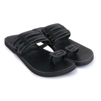 Men's Indian Black Synthetic leather sandals, Gladiator Flip Flops