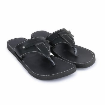 Indian Black Synthetic Leather Sandals for Men, summer flat shoes