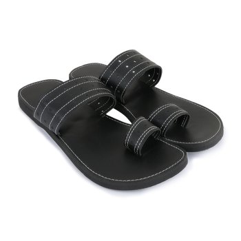 Black Synthetic Leather Sandals For Men, Casual Flat Flip Flops