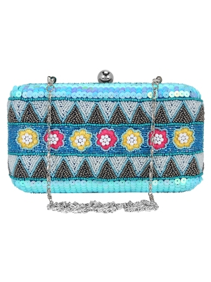 Blue and Multicolour Adorn Embelished Faux Silk Fabric Clutch