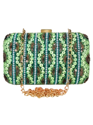 Green and Multicolour Adorn Embelished Faux Silk Fabric Clutch