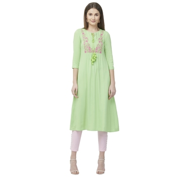 Pista Green Rayon Multi Embroidered Ethnic Wear Tunic For Women's