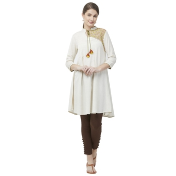 Natural Viscose Cotton Flex Multi Embroidered Ethnic Wear Tunic For Women's