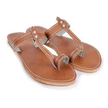 Brown Synthetic Leather Sandals, Brown Sandals, Summer Shoes, Flip-Flops