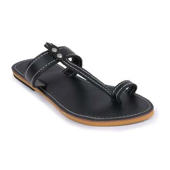 Indian Sandals, Slip on Sandals, Summer Flats, Synthetic Leather Sandals, Black Sandals, Women's Sandals
