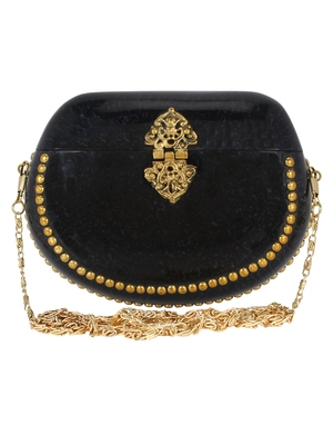 Black and Gold Marvelous Marble Clutch