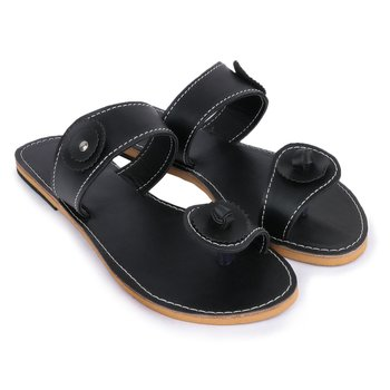 Black Sandals, Indian Sandals Handmade of Black Synthetic Leather, Flat Leather Slides