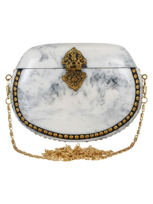 White and Gold Marvelous Marble Clutch