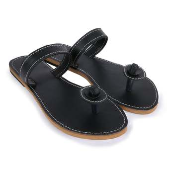 Black Synthetic Leather Sandals Woman Indian Shoes Vintage Style Flip Flops