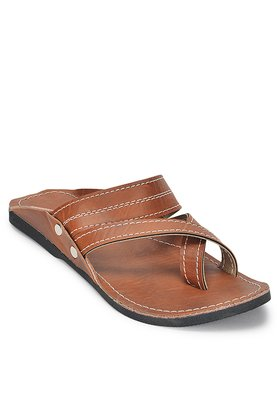 Ancient Indian Brown Synthetic Leather Sandals For Men, Handmade Summer Shoes, Gift For Him