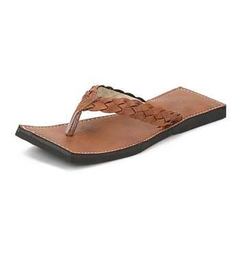 Brown Synthetic Leather Flip Flops For Men, Handmade Sandals