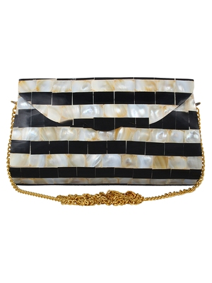 Black and White and Beige Marvelous Marble Envelope Clutch