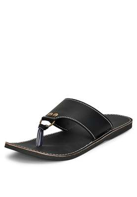 Men'S Black Synthetic Leather Sandals, Traditional Flats Slippers