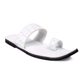 Men's White Synthetic leather sandals, Indian traditional unique toe stylist summer flats