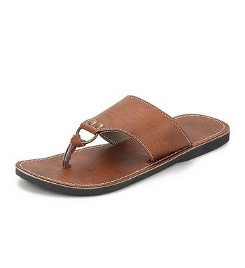Brown Synthetic Leather Flip Flops Foe Men, Handmade Sandals