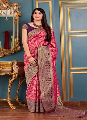 Pink woven banarasi silk blend saree with blouse