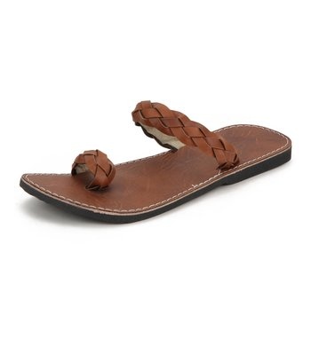 Brown Synthetic Leather sandals for Men, Indian handmade Flip Flops