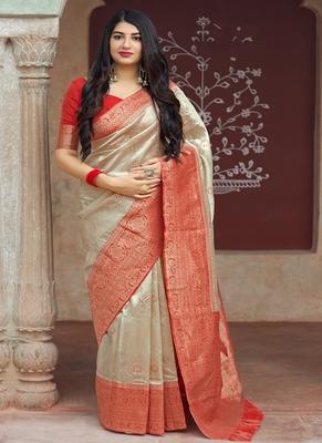 Beige woven banarasi silk blend saree with blouse