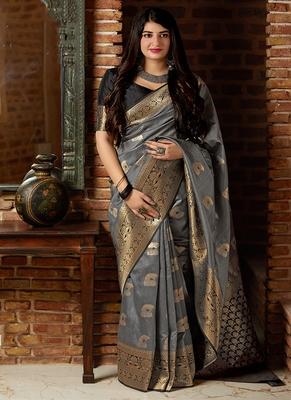 Grey woven banarasi silk blend saree with blouse