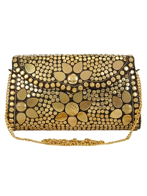 Gold Jewel Mosaic Metal Clutch