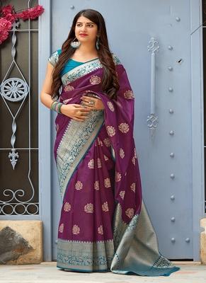 Purple woven banarasi silk blend saree with blouse