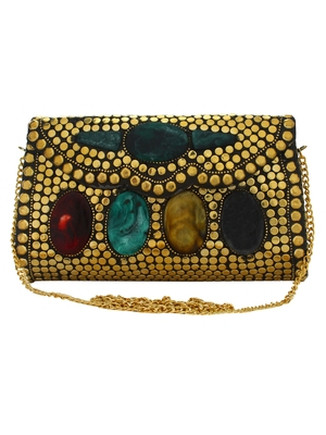 Gold and Multicolour Jewel Mosaic Metal Clutch