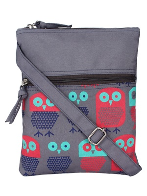 Feral Grey and Multicolour Synthetic Sling Bag