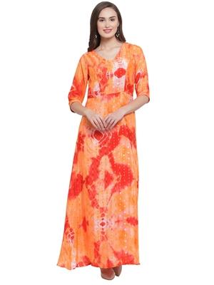 Orange Red Printed Maxi Dress