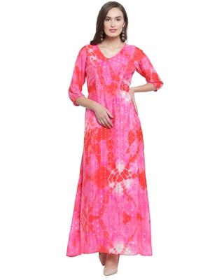 Fuschia Red Printed Maxi Dress