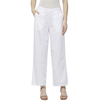 White Linolio Solid Ethnic Wear Palazzo For Women's