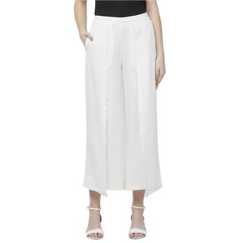 Off White Linolio Schiffli Embroidered Ethnic Wear Wrap Pant For Women's