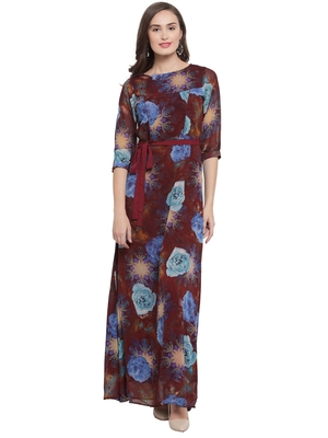Brown Turquoise A-Line Maxi Dress