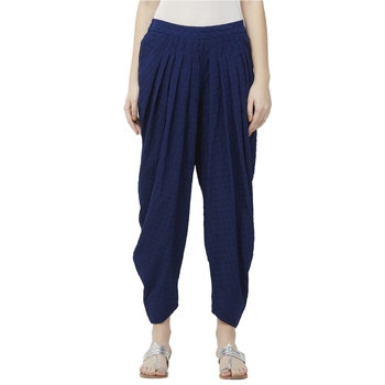 Blue American Crepe Schiffli Embroidered Ethnic Wear Dhoti Pant For Women's