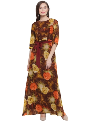 Brown Orange A-Line Maxi Dress