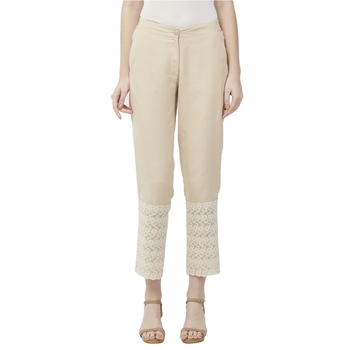 Beige Linolio Schiffli Ethnic Wear Slim Pant For Women's