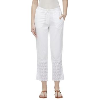 White Linolio Schiffli Ethnic Wear Slim Pant For Women's