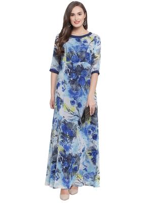 Blue Multi A-Line Maxi Dress