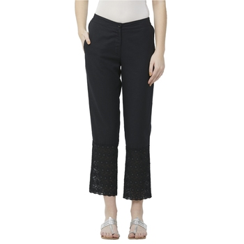 Black Linolio Schiffli Ethnic Wear Slim Pant For Women's