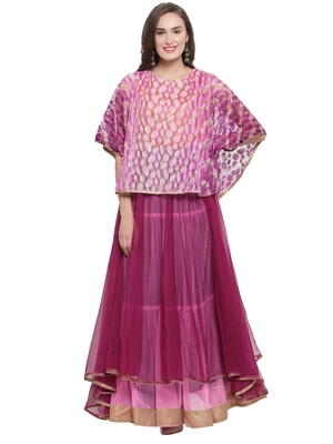 Purple Pink Tiered Cape Gown