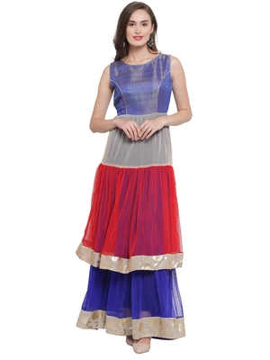 Blue Multi Double Tiered Flared Gown