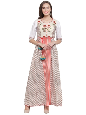 White Multi Hand Block Print Maxi Dress