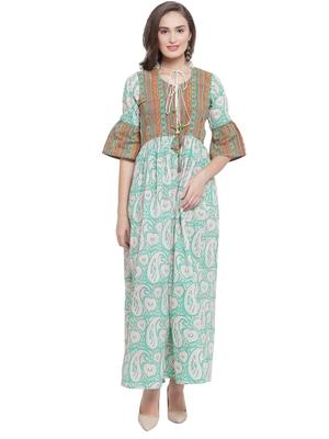 Mint Green Hand Block Print Maxi Dress